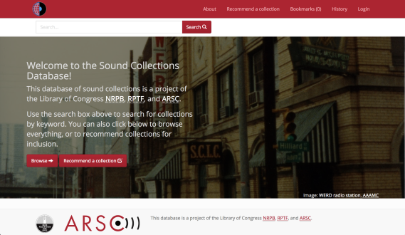 Screenshot of the home page of the Sound Collections Database. The databse is linked from this image.